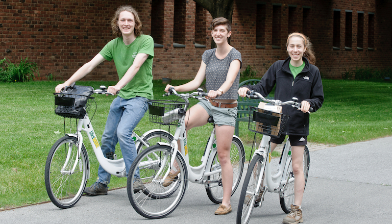 The Skidmore community has free 24-hour access to the campus bike share program