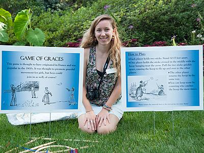 Leila Farrer '16, a History major with minors in Arts Administration and Anthropology, is spending the summer at the Hillwood Estate Museum & Gardens in Washington, D.C. Her focus is on communicating historical information about the museum. Here she can be seen demonstrating one of the historical games highlighted at the annual French Festival, which she helped to coordinate this year.