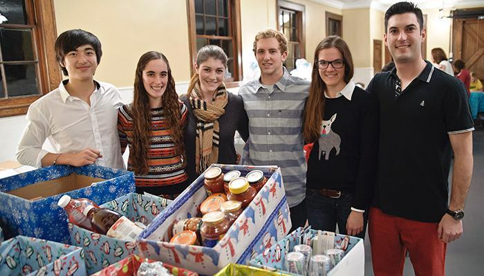 Students sorting donations