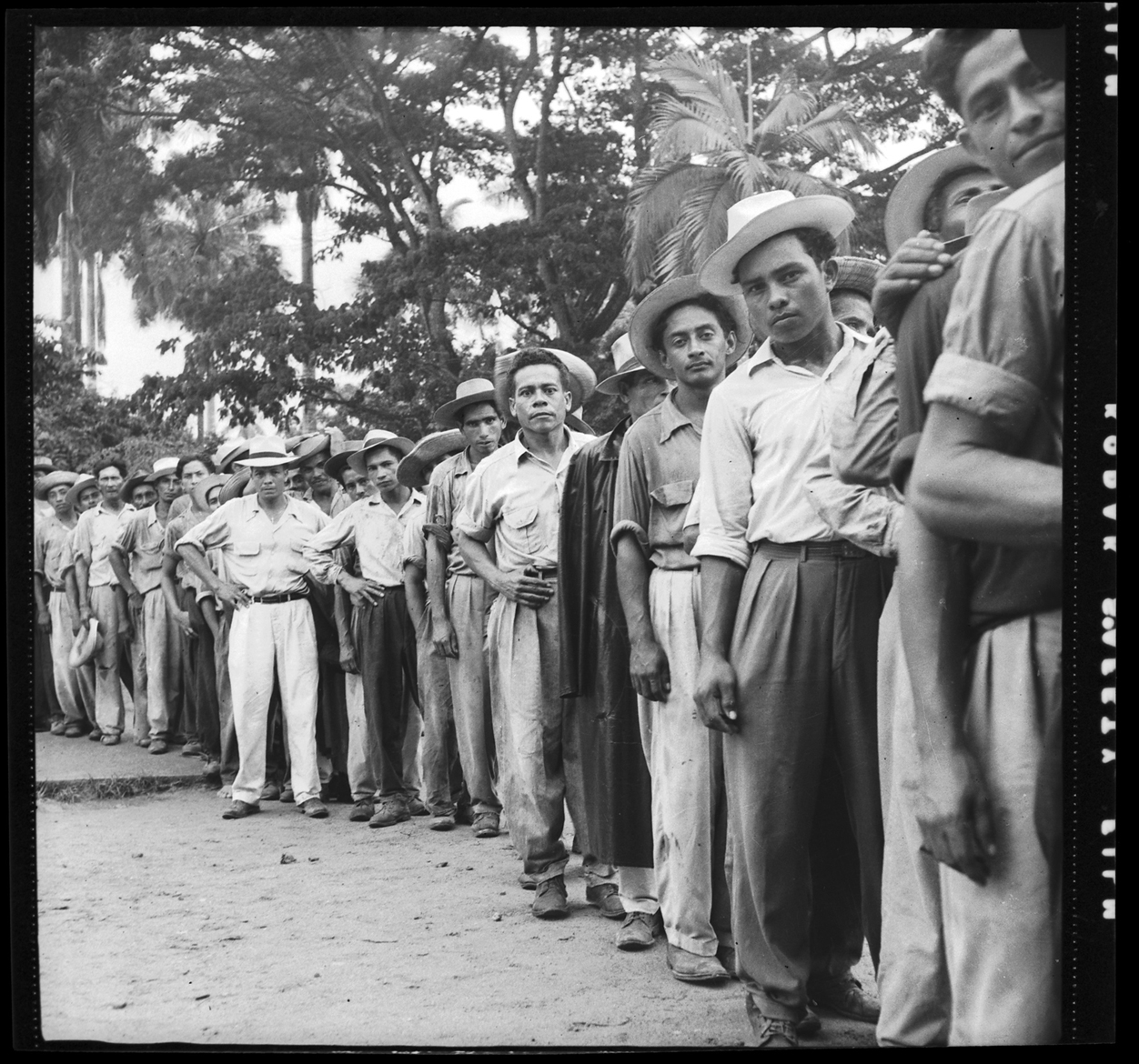 Banana workers on strike in 1954. El Progreso, Honduras. Photograph by Rafael Platero Paz