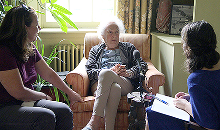 Interviewing Barbara Stroock Kaufman '40 (center)