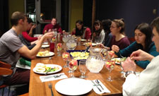 Student composting group enjoys dinner