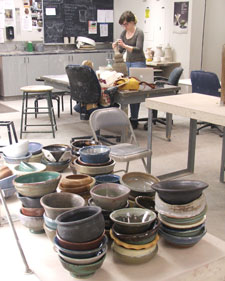 empty bowls in ceramics studio