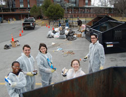 Waste Audit, Levi Rogers and students