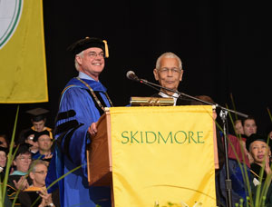 President Philip A. Glotzbach and Julian Bond, Commencement 2015.