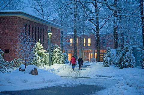 Skidmore in the snow