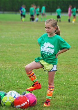 Young solo soccer player