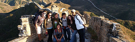 Skidmore students on the Great Wall of China