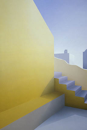 Elena Borstein ('68), Yellow Courtyard, 2003, acrylic on canvas, 60 x 40 inches