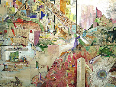 Josh Dorman, Sum, (detail) 2006, ink, acrylic and antique maps on wood panels, 64 x 36 inches