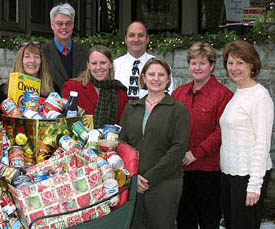 A group of Skidmore Cares volunteers with donations, 2007