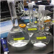 Samples of water for study