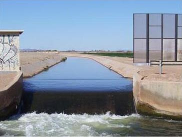 One of the many irrigation canals in the highly managed water systems of Southern California