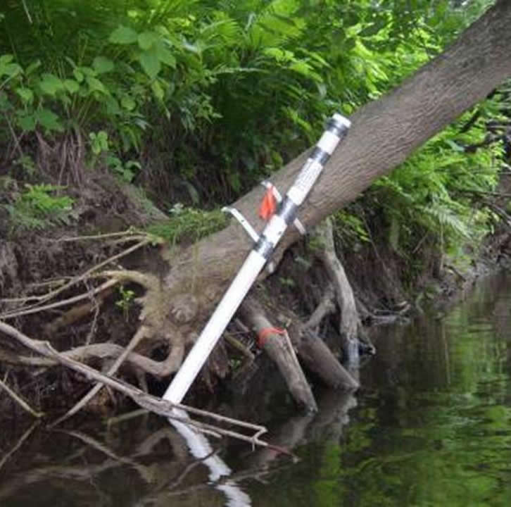 Water quality monitoring equipment in place