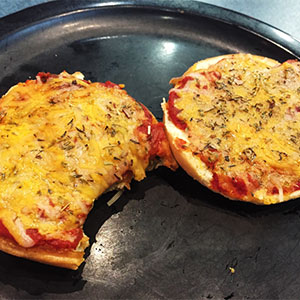 Pizza Bagels at D-Hall