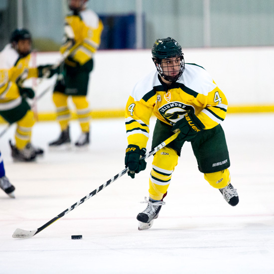 Brandon Borges skidmore hockey player on the ice