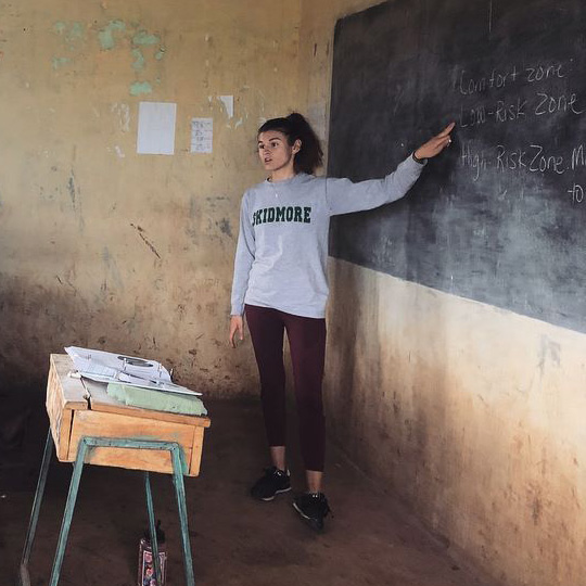 Marley Amico teaches in a classroom in Kenya