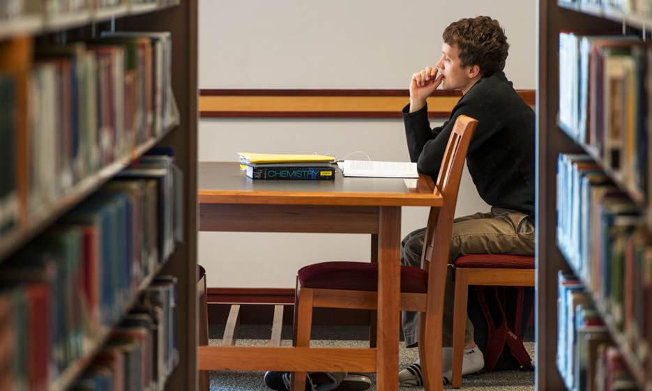 Male student studying in the library