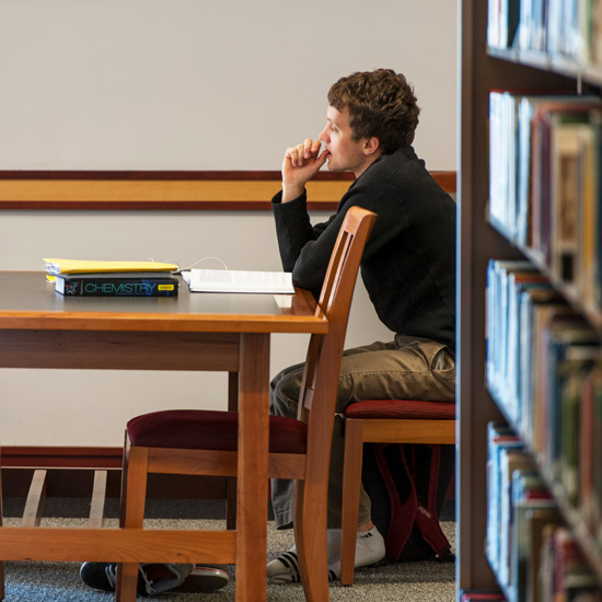 Skidmore+student+studies+in+the+library