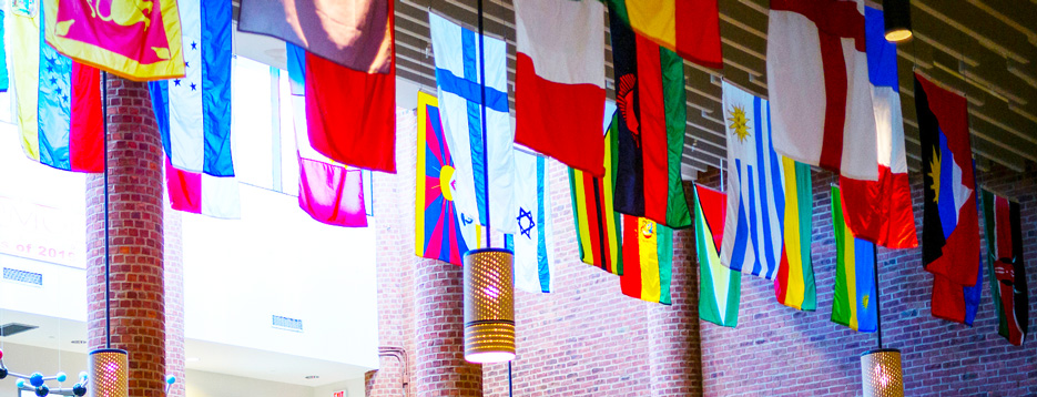 International flags hanging at Skidmore College