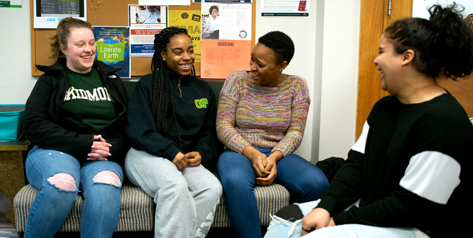 Moments like this, just hanging out, are some of the best times I've had with friends at Skidmore. Pictured from left to right: Brittany Herringshaw '20, Brandy Smith '21, NK Mabaso '19, and Lhia Hernandez '19