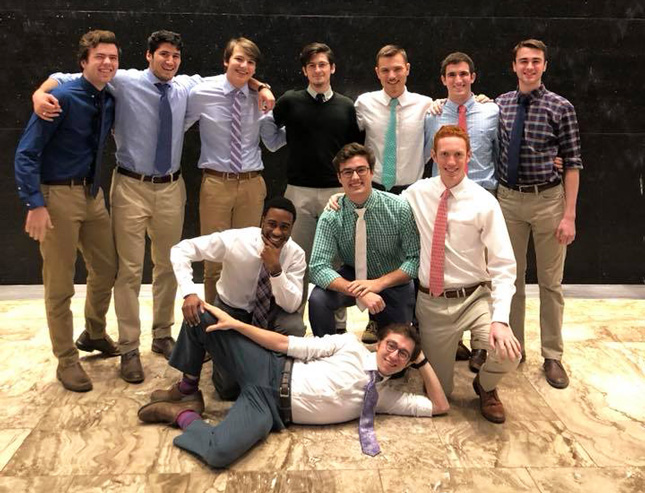 Group photo of a Skidmore men's acapella group