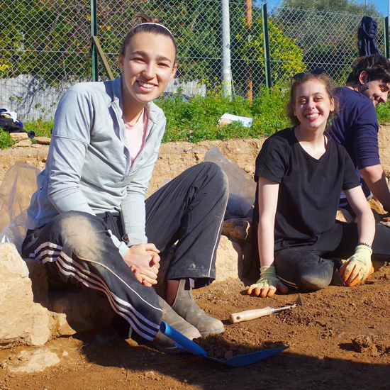 Zoe Ousouljoglou works on an archaeological site in Greece
