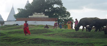 Temple at Sujata Village (Sujata famous Buddhist site in Buddha's life). Photo taken by Hunter Marston, '07.