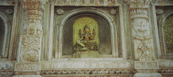 Temple art at the MahaBodhi temple, the center of the world for Buddhists which houses the Bodhi Tree under which the Buddha sat. Photo by Hunter Marston, 07.