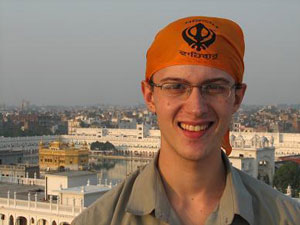 Skidmore student Adam Epstein at the Golden Temple in Amritsar, Punjab