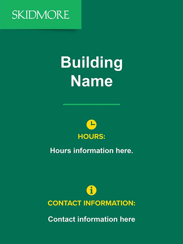 Printable sign for Building Name and Hours