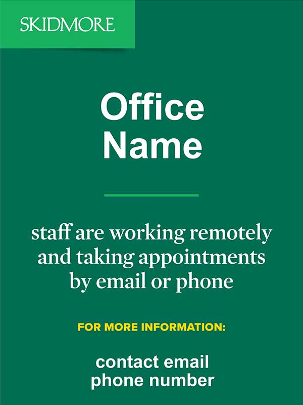Office Name - staff are working remotely and taking appointments by email or phone