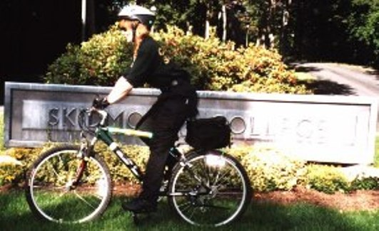 Campus Safety officer on bike patrol