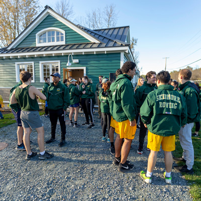 Skidmore+rowing+teams+gather+outside+the+new+boathouse+