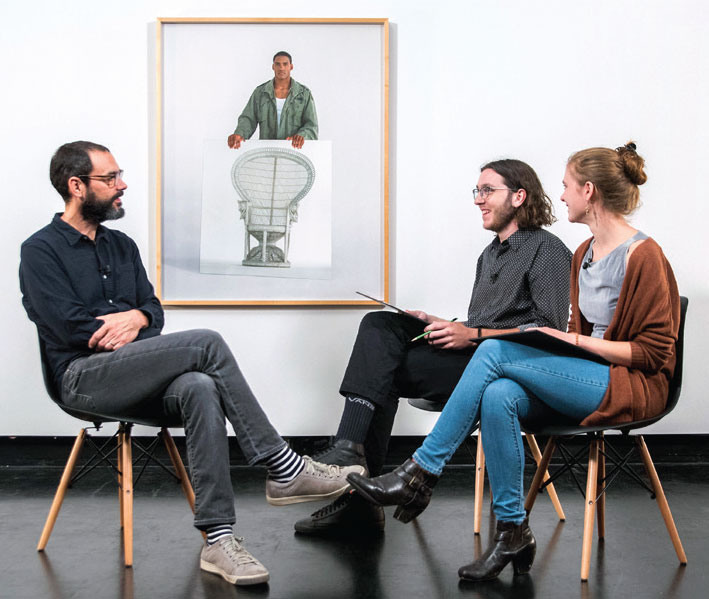 Matthew Neporent '20 and Eva Herschler '19 interview artist Sam Durant about his work in the Tang collection.