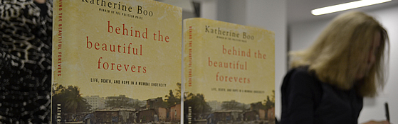 Display of the book 'Beyond the Beautiful Forevers'