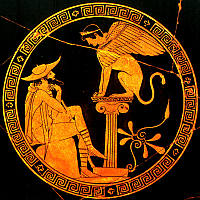 Oedipus and the Sphinx from a cup by Douris, 5th c. (courtesy Prof. L. Kim, Univ. of Texas, Austin)