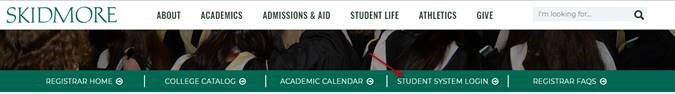 Screenshot of Registrars Web Page with arrow pointing to Student System Login