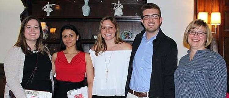 L-R Kira Geary, Nosheen Hotaki, Izzy Fischer, Jason Sutherland and Professor Natalie Taylor.
