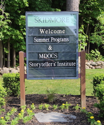 Storytellers' Inst Welcome Sign