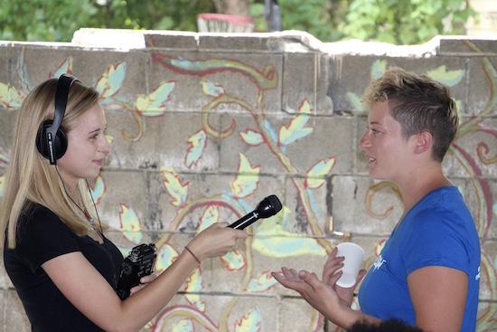 Julia Cavicchi interviewing
