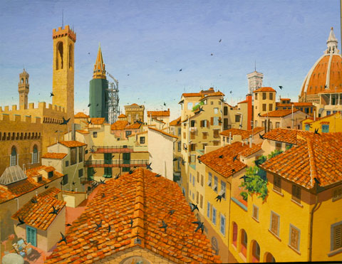 Florence%2C+Looking+West+%28Via+dei+Pondolfini%29%2C+2003%2C+by+Paul+Sattler