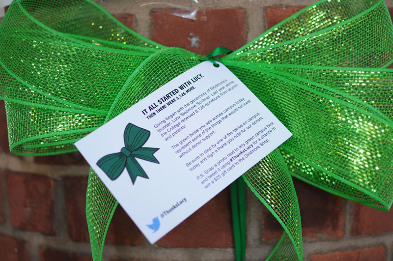 Green bows were tied all over campus