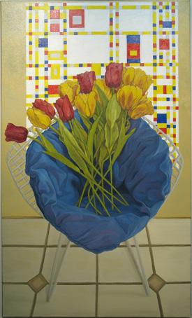 D. Miller, Chair with tullips and Piet Mondrian's Broadway Boogie-Woogie