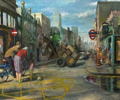 """Paul Sattler """"London Circus (Street Scene)"""""""