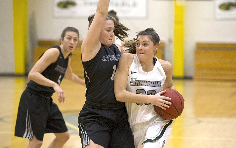 Veronica Moceri '18 determines to be unstoppable, and is, in going for her shot against Bowdoin.
