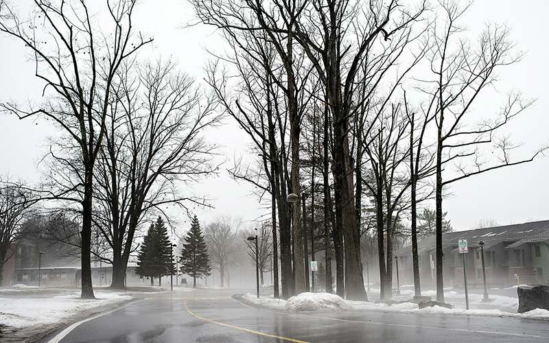 Sussman Village apartments retreat into the fog billowing over campus during a winter warmup.