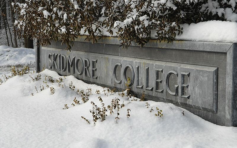 No matter  how much snow falls, the main campus sign welcomes visitors.