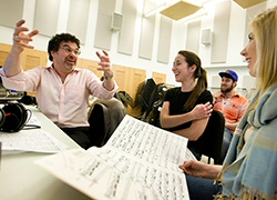 Adam Abeshouse, P '14, '16, working with Skidmore students in 2012