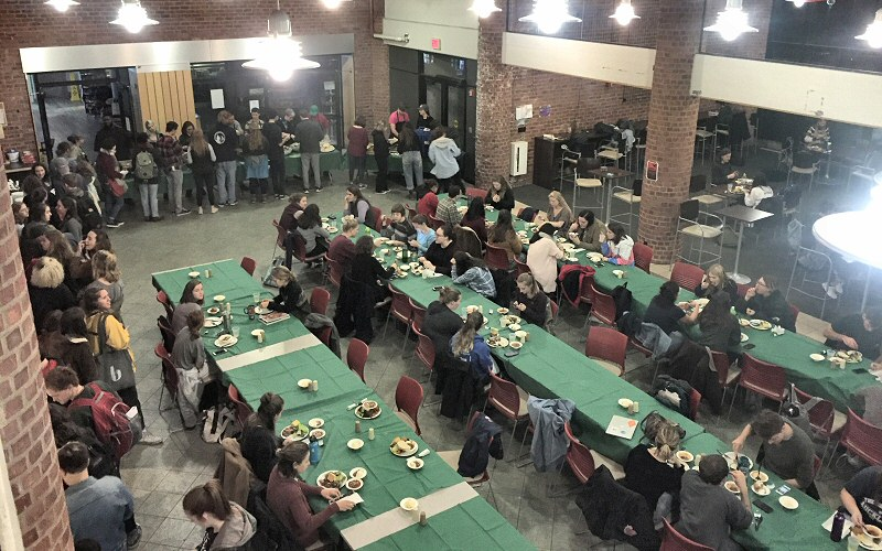 An all-time high of some 275 students fill the Spa snack shop for this year's Harvest Dinner.